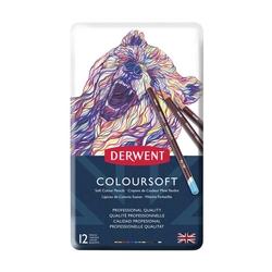 Derwent - Derwent Coloursoft Metal Kuru Boya Teneke Kutu 12'li