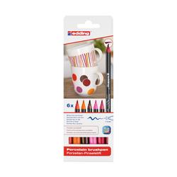 Edding - Edding E-4200 Porselen Kalemi Sıcak Renkler 6'lı Set