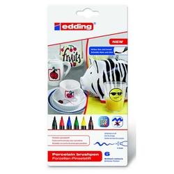 Edding - Edding E-4200 Porselen Kalemi Standart Renkler 6'lı Set