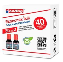 Edding - Edding Tahta Kalemi Mürekkebi BT02 2'li Kırmızı