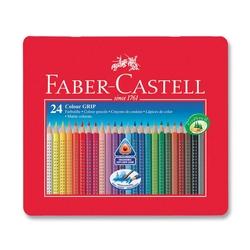 Faber-Castell - Faber Castell 2001 Grip Metal Kutu Kuru Boya 24'lü