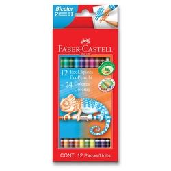 Faber-Castell - Faber Castell Bicolor Çift Taraflı Kuru Boya 12 Kalem 24 Renk