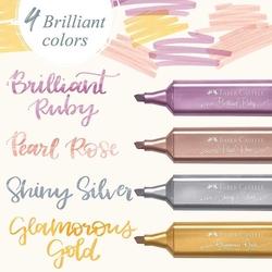 Faber Castell Fosforlu Kalem 46 Metalik Altın Glamorous Gold - Thumbnail