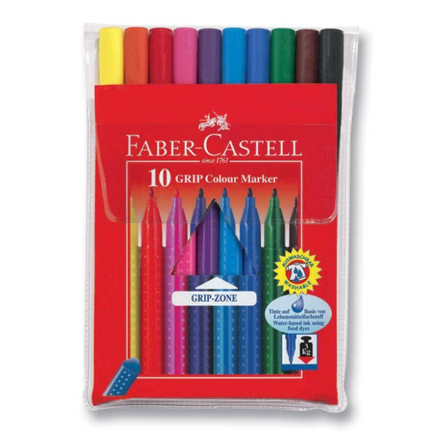 Faber Castell Grip Markör Keçeli Boya Kalemi 10'lu