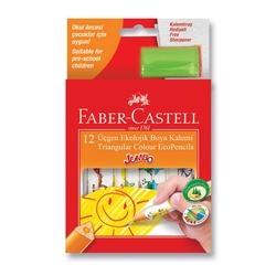 Faber-Castell - Faber Castell Jumbo Üçgen Kuru Boya Beyaz Gövdeli 12'li