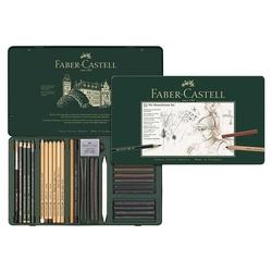 Faber-Castell - Faber Castell Pitt Mono Chrome Seti Metal Kutu 33 Parça