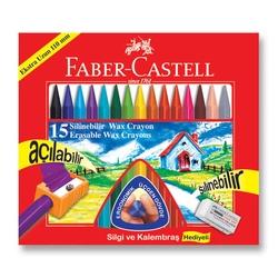 Faber-Castell - Faber Castell Wax Crayon Silinebilir Pastel Boya 15'li