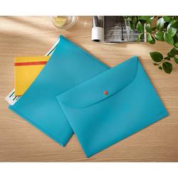 Leitz - Leitz Cosy Çıtçıtlı, 2 Cepli Gizlilik Dosyası A4 Mavi