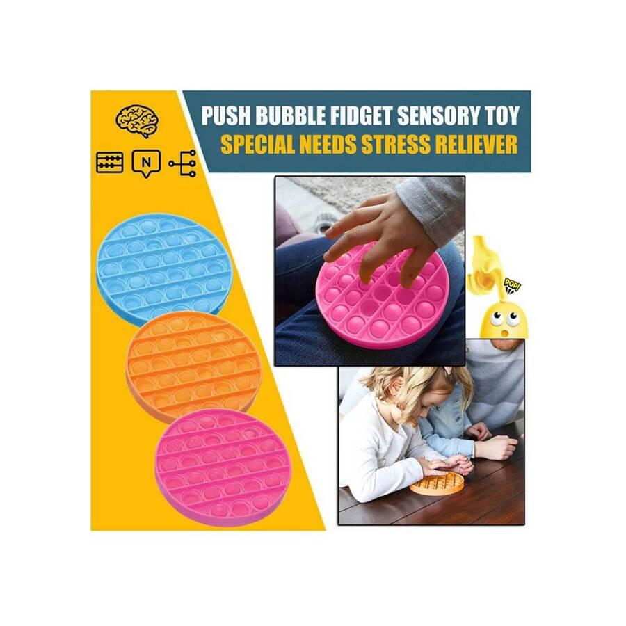 Push Pop Bubble Pop It Duyusal Oyuncak Özel Pop Stres Yuvarlak Sarı