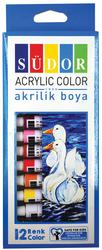 Südor - Südor Akrilik Boya Seti 9 ml 12 Renk Tüp