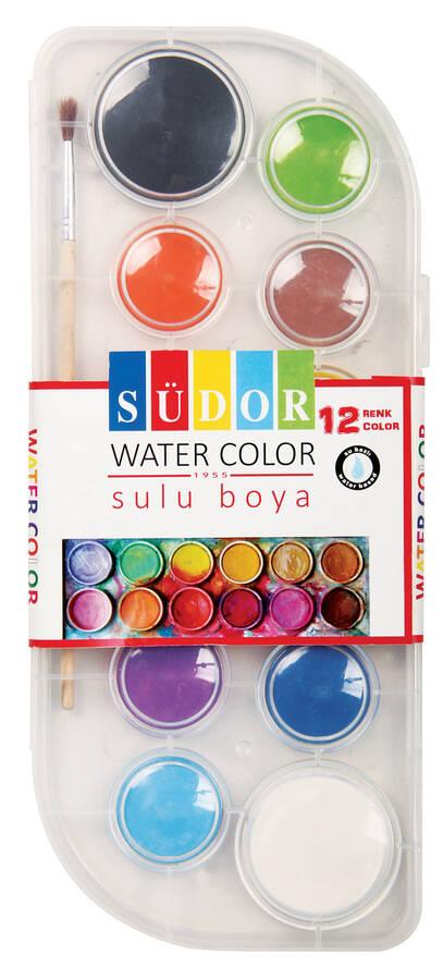 Südor Sulu Boya Şeffaf Plastik Kutu 12 Renk