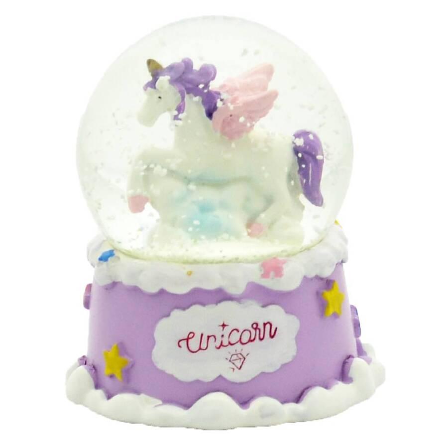 Taros Orta Boy Işıklı Unicorn Kar Küresi